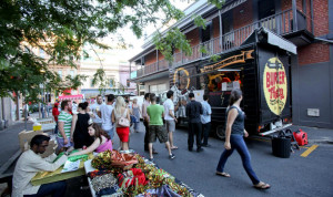 Food Trucks and stalls on Union Street in Adelaide's East End.