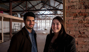 Haris Qureshi and Jemma Schilling at Hub Adelaide, under construction.